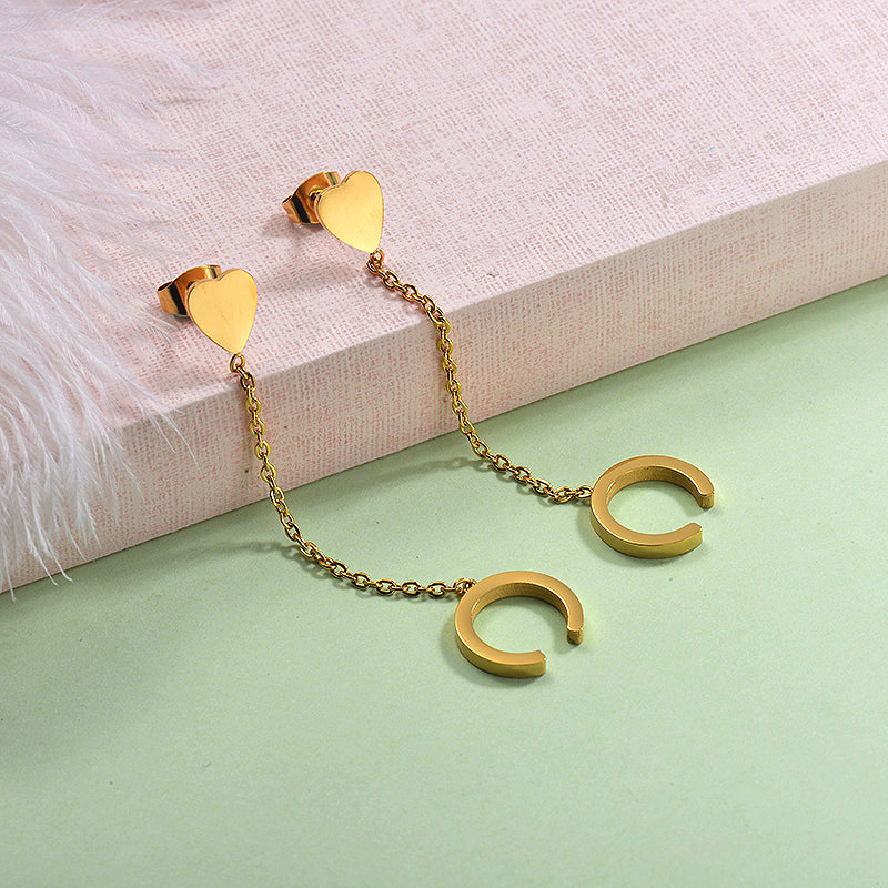 Stainless Steel Chain Cuff Earrings-SSEGG143-29249