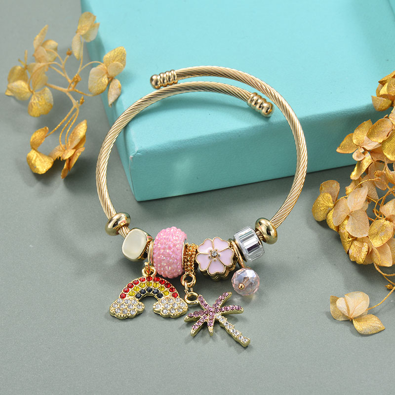 Brass Charm Bangle Bracelets for Women -BRBTG89-29371