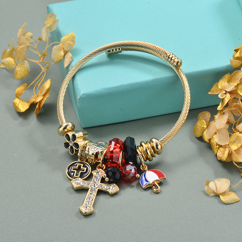 Brass Charm Bangle Bracelets for Women -BRBTG89-29370