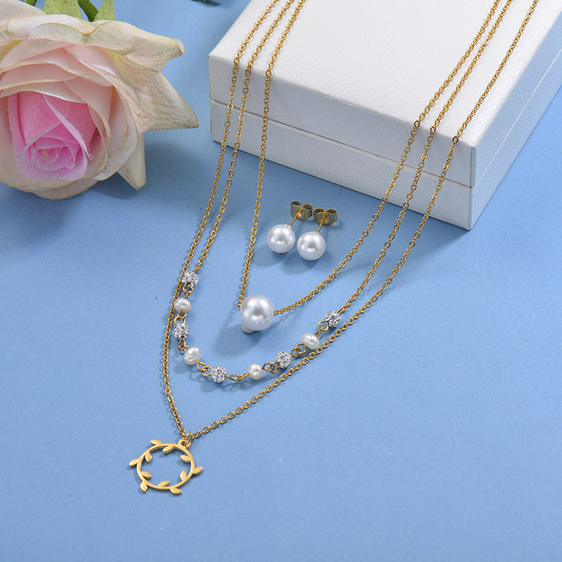 Stainless Steel Multilayer Necklace Sets -SSCSG142-29601