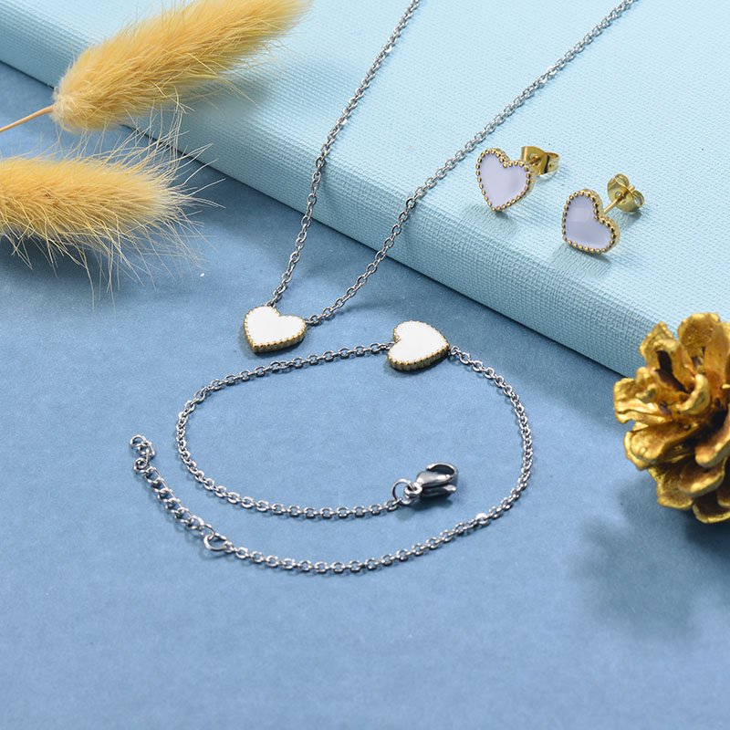 Stainless Steel Bracelet Necklace Earring Jewelry Sets -SSBEG126-29514