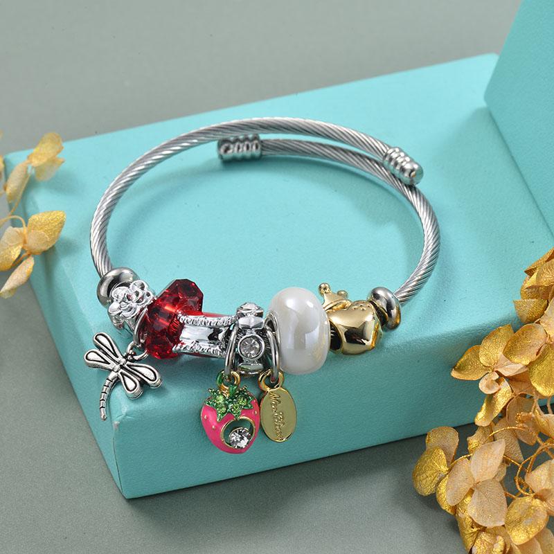 Brass Charm Bangle Bracelets for Women -BRBTG89-29359