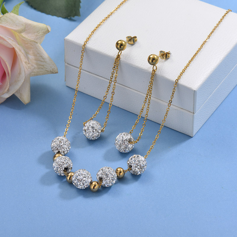 Stainless Steel Beaded Necklace Sets -SSCSG142-29605