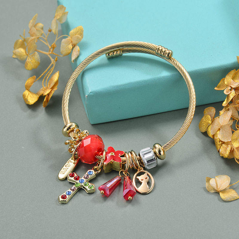 Brass Charm Bangle Bracelets for Women -BRBTG89-29366