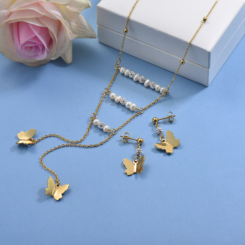 Stainless Steel Butterfly Necklace Sets -SSCSG142-29598
