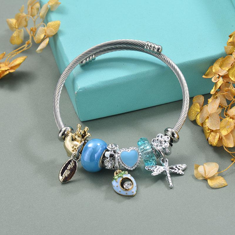 Brass Charm Bangle Bracelets for Women -BRBTG89-29360