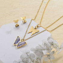 Stainless Steel Butterfly Multilayer Necklace Sets -SSCSG142-29564