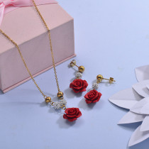 Stainless Steel Flower Rose Necklace Sets -SSCSG142-29620