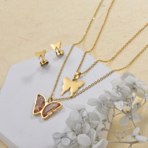 Stainless Steel Butterfly Multilayer Necklace Sets -SSCSG142-29568