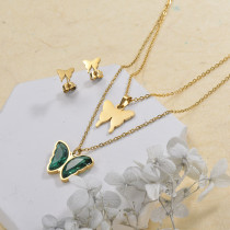 Stainless Steel Butterfly Multilayer Necklace Sets -SSCSG142-29566