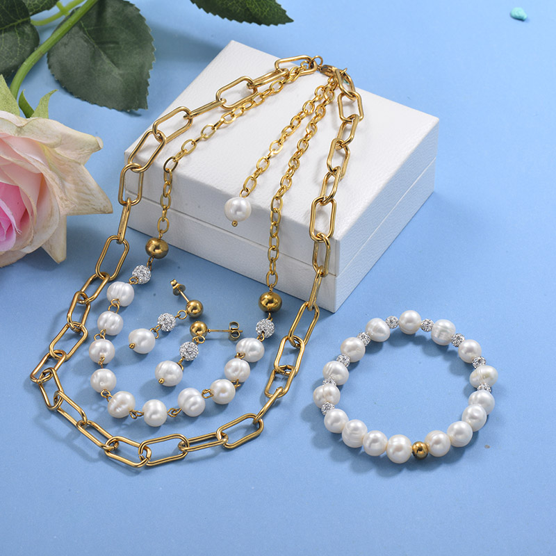Stainless Steel Multilayer Beaded Necklace Sets -SSBEG142-29599