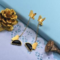 Stainless Steel Butterfly Drop Earrings -SSEGG142-29666