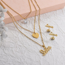 Stainless Steel Multilayer lOVE Necklace Sets -SSCSG142-29575