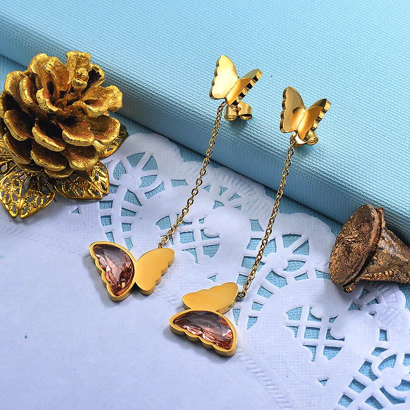 Stainless Steel Butterfly Drop Earrings -SSEGG142-29674