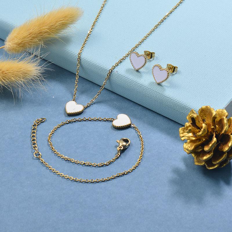 Stainless Steel Bracelet Necklace Earring Jewelry Sets -SSBEG126-29515