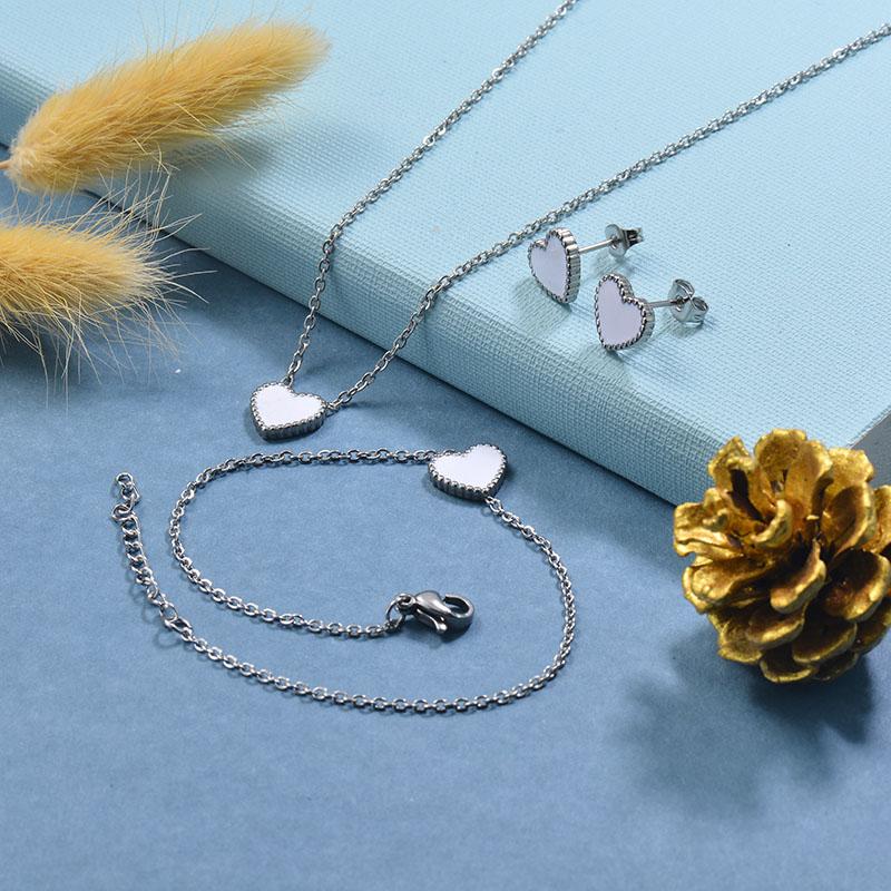 Stainless Steel Bracelet Necklace Earring Jewelry Sets -SSBEG126-29513