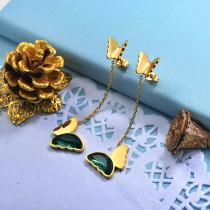 Stainless Steel Butterfly Drop Earrings -SSEGG142-29673