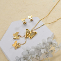 Stainless Steel Butterfly Multilayer Necklace Sets -SSCSG142-29565