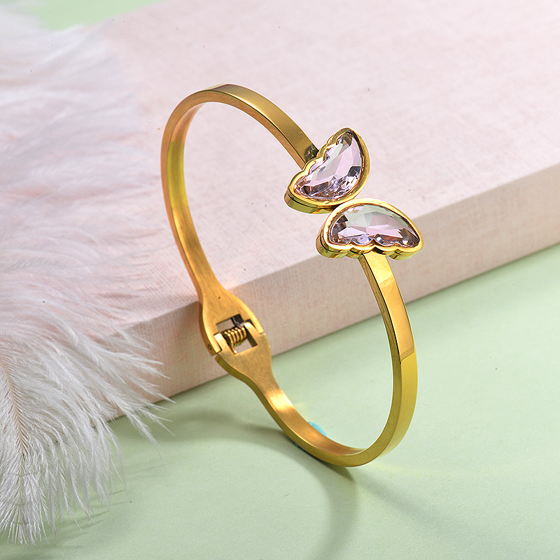 Stainless Steel Butterfly Cuff Bangles -SSBTG143-29251