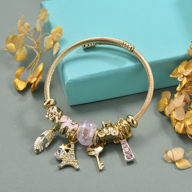 Brass Charm Bangle Bracelets for Women -BRBTG89-29367