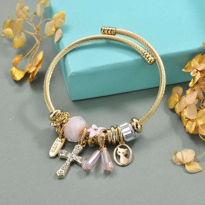 Brass Charm Bangle Bracelets for Women -BRBTG89-29364
