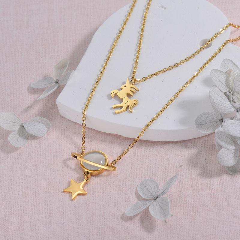 Collares de Acero inoxidable para Mujer -SSNEG157-29926