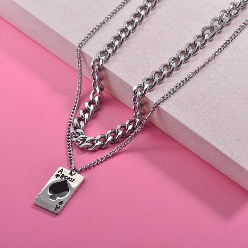 Collares de Acero Inoxidable para Mujer -SSNEG157-29993