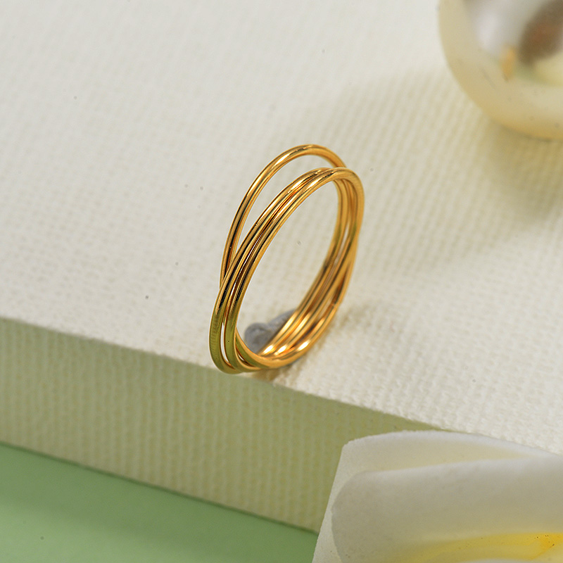 18K Gold Plated Dainty Band Rings Sets for Girls