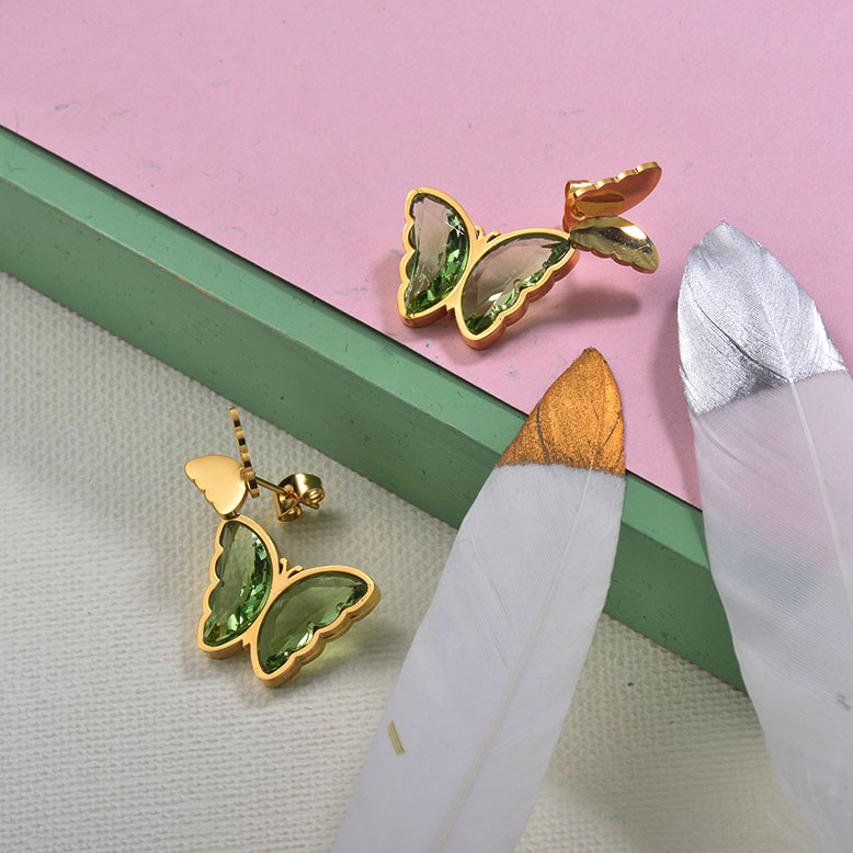 Stainless Steel Butterfly Stud Earrings