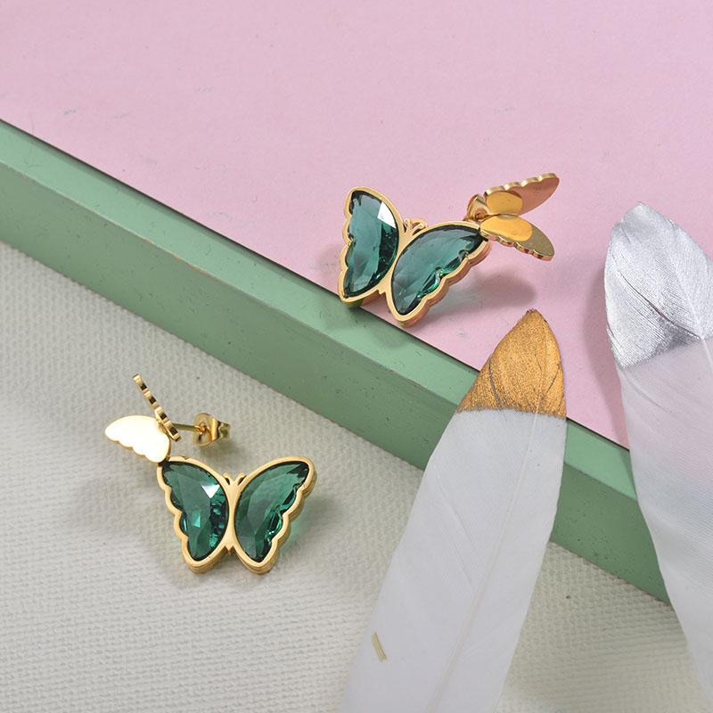 Stainless Steel Butterfly Stud Earrings