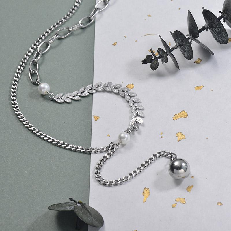 Collares de Acero Inoxidable para Mujer -SSNEG157-30008
