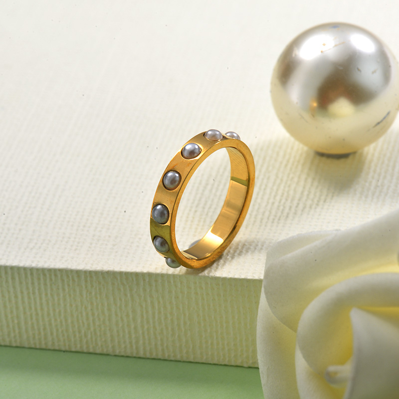 18k Gold Plated Pearl Ring French Style