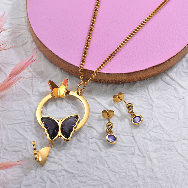 Stainless Steel Butterfly Necklace Sets