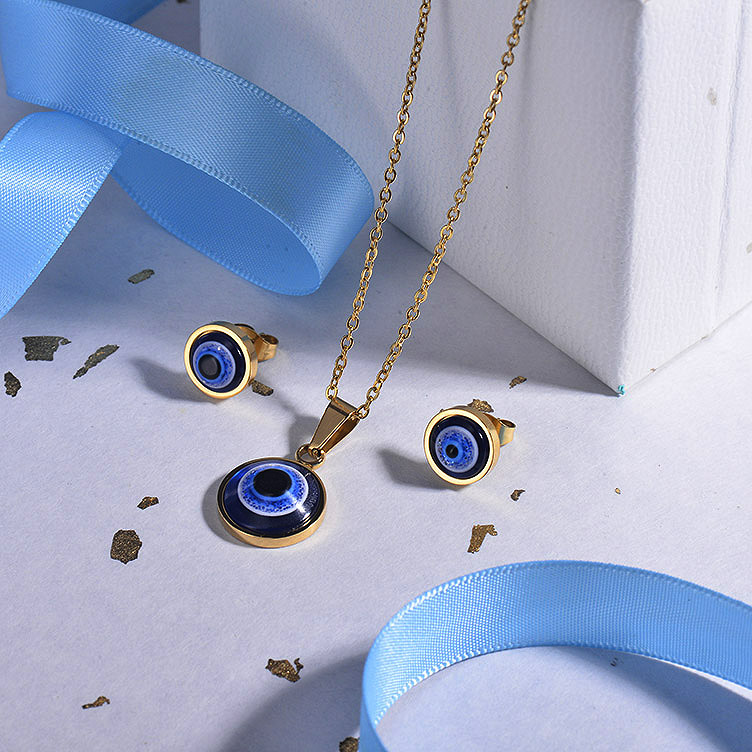 Stainless Steel Evil Eye Jewelry Sets