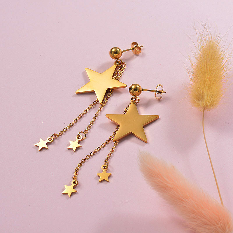 Star Tassel Earring in Stainless Steel