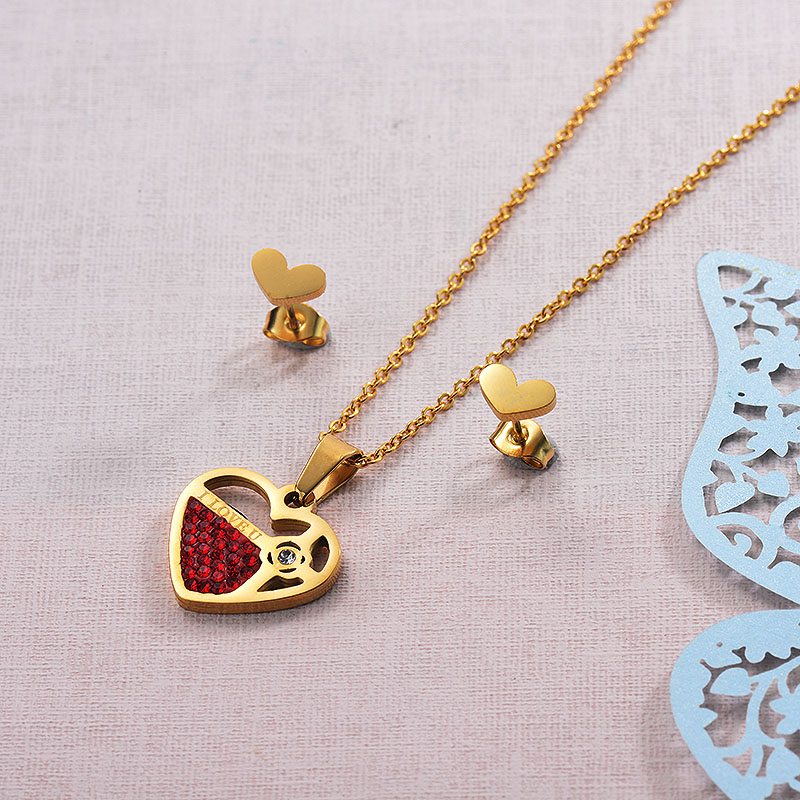 Red Heart Necklace Sets
