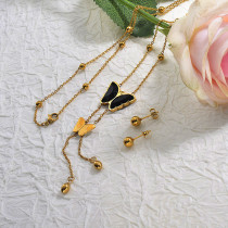 Y Shaped Larit Long Butterfly Necklace Sets