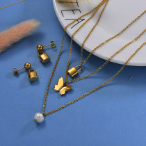 18K Gold Plated Lock Layered Necklace