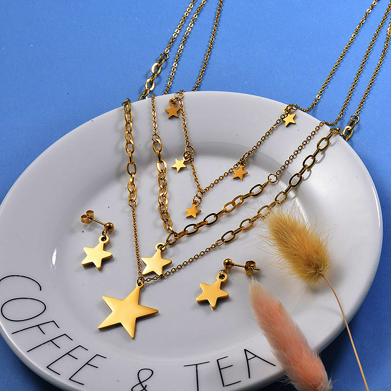 18K Gold Plated Star Layered Necklace