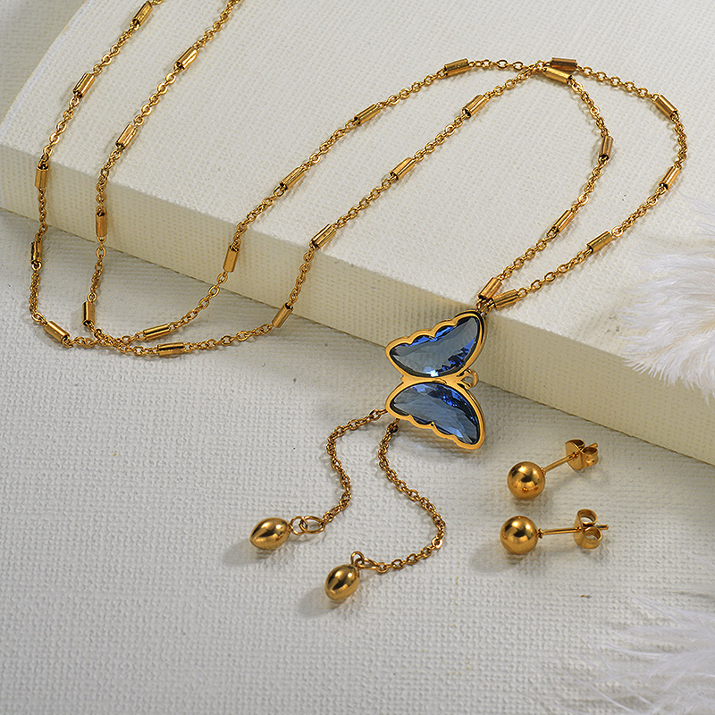 Y Shaped Larit Butterfly Necklace Sets
