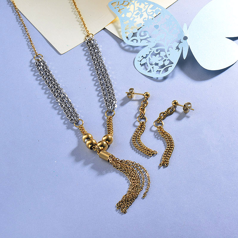 Stainless Steel Star Tassel Jewelry Sets