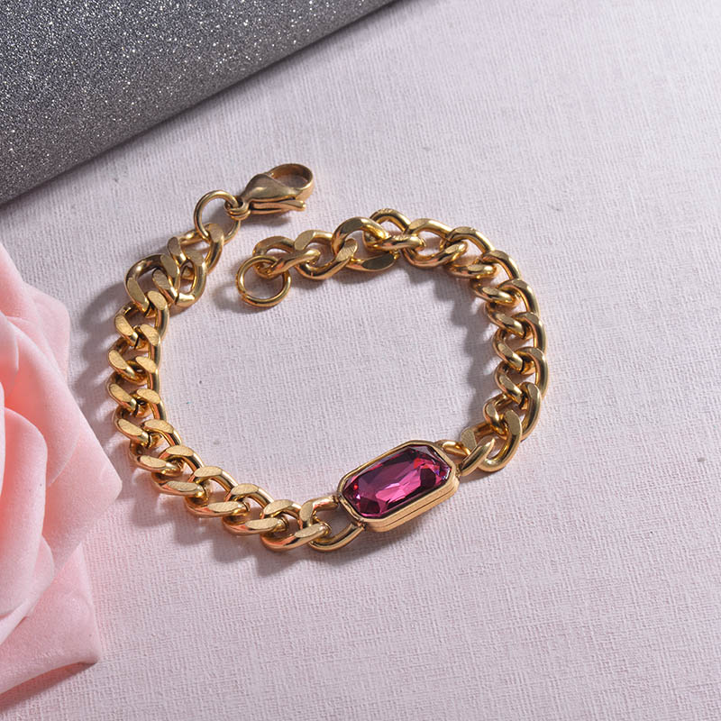 Hippop Style Hot Pink Crystal Chain Bracelets