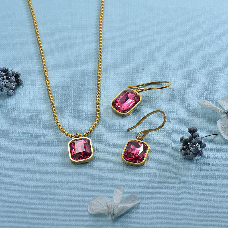 Stainless Steel Hot Pink Jewelry Sets