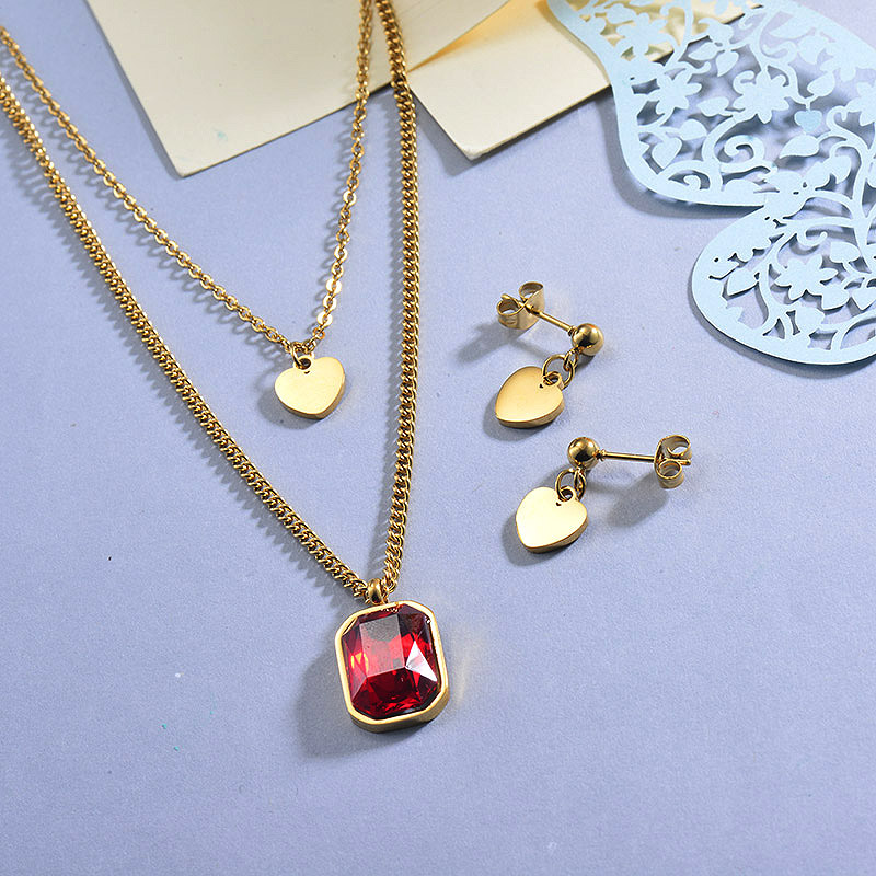 Stainless Steel Hot Pink Multilayered Heart Necklace Sets with Earrings