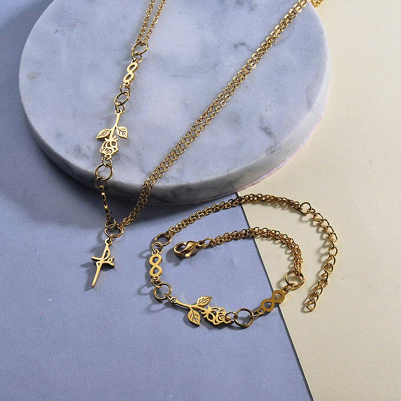 Rose Cross Necklace Bracelets Sets