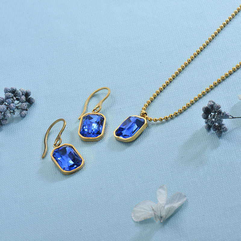Stainless Steel Blue Crystal Jewelry Sets