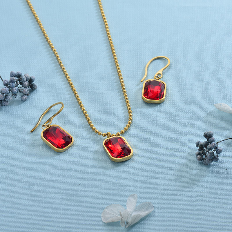 Stainless Steel Red Crystal Jewelry Sets