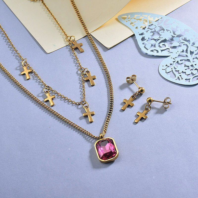 Stainless Steel Hot Pink Multilayered Cross Necklace Sets with Earrings