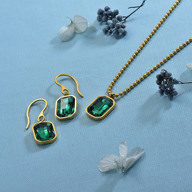 Stainless Steel Green Crystal Jewelry Sets