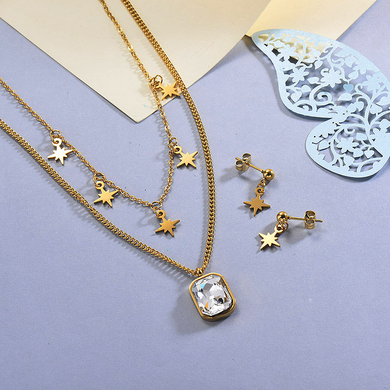 Stainless Steel White Crystal Multilayered Necklace Sets with Earrings